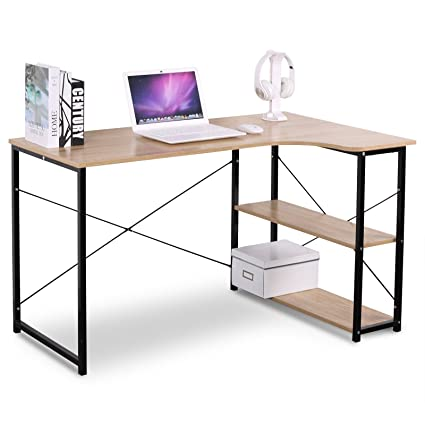 WOLTU L Shaped Computer Desk Solid Wood Book Table With 3 Tier Tower  Shelves For Home