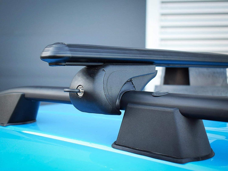 Van Demon Black Aluminium Pair of Roof Rails and Pair of Lockable Cross Bars Set for Transit Connect SWB 2013 on