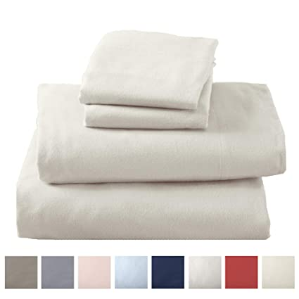 Great Bay Home Extra Soft 100% Turkish Cotton Flannel Sheet Set. Warm, Cozy, Lightweight, Luxury Winter Bed Sheets in Solid Colors. Nordic Collection (Full, Pristine Ivory) best twin-sized flannel sheets
