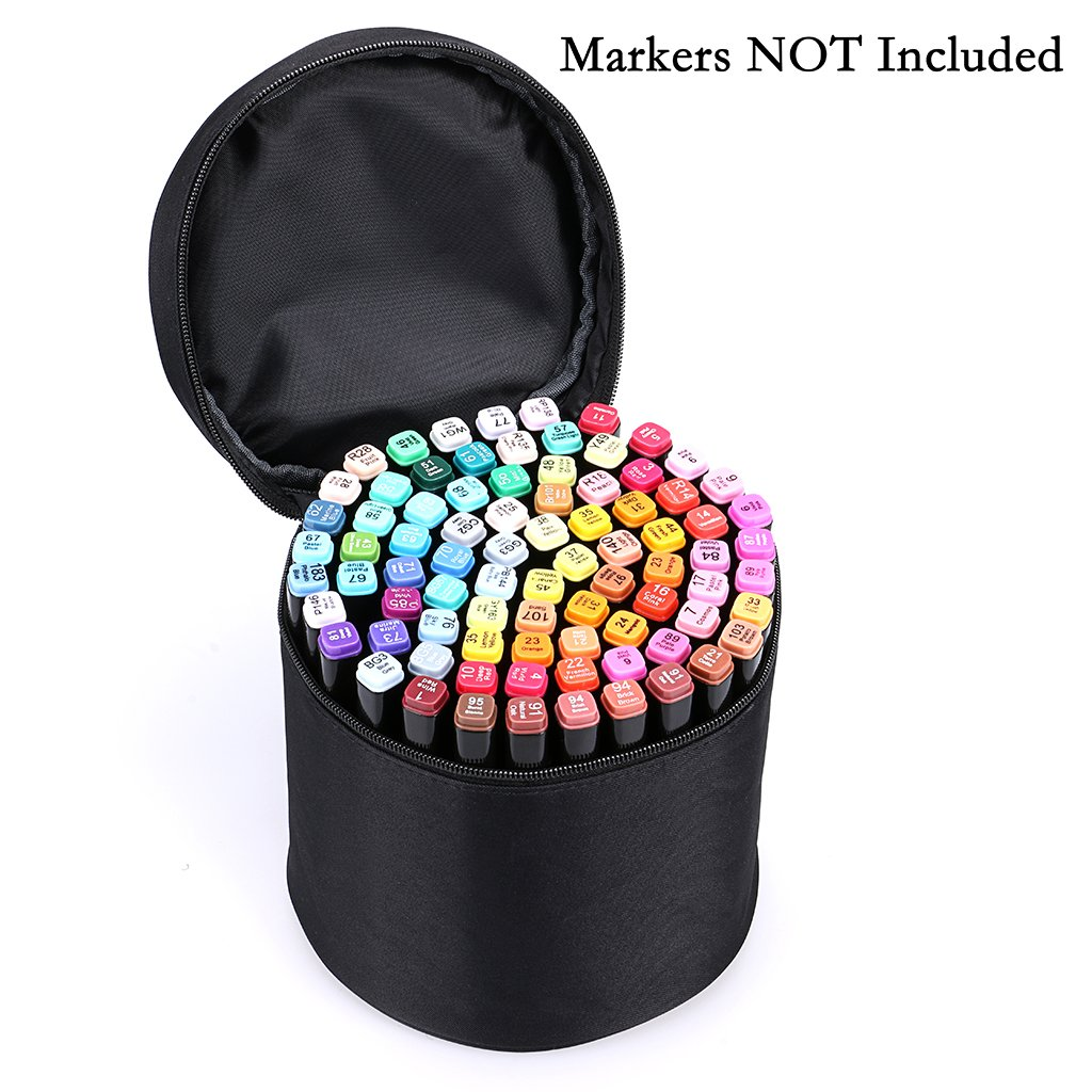 NO Compartments Inside Zippered Canvas Pen Bag Pencil Case Stationary Storage for 80 Markers BTSKY Multifunction Marker Case Black