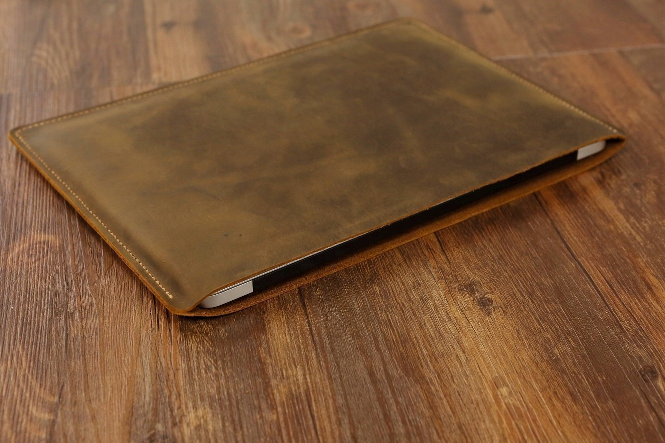 Handmade Genuine Leather macbook sleeve case for 12 new macbook/vintage distressed leather 13'' macbook air/pro sleeve case MACX05S by D&M Leather Studio