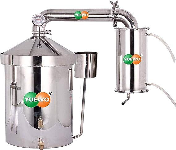 Ajfashion 22L Alcohol Moonshine Still Brewing Stainless Steel Distiller Water Wine Alcohol Distiller Distilling Equipment Copper Tube Boiler 3 pots Valve//5 Gallon 10L