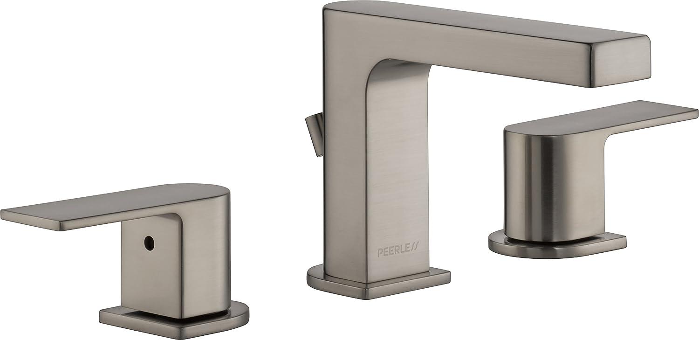 Peerless Xander Widespread Bathroom Faucet Brushed Nickel, Bathroom Faucet 3 Hole, Bathroom Sink Faucet, Drain Assembly, Brushed Nickel P3519LF-BN