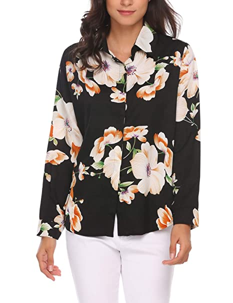 1e07f98cbb0 SoTeer Women s Casual Floral Blouse Chiffon Office Button Down Top ...