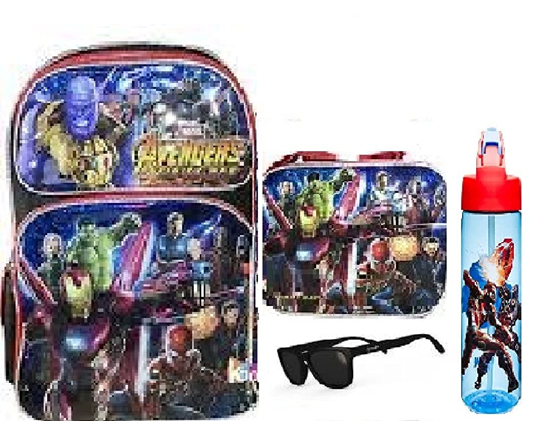 Marvel Avengers Infinity War LARGE 16in Backpack + Insulated Lunch Box + Zak Tritan Water Bottle + Sunglasses -