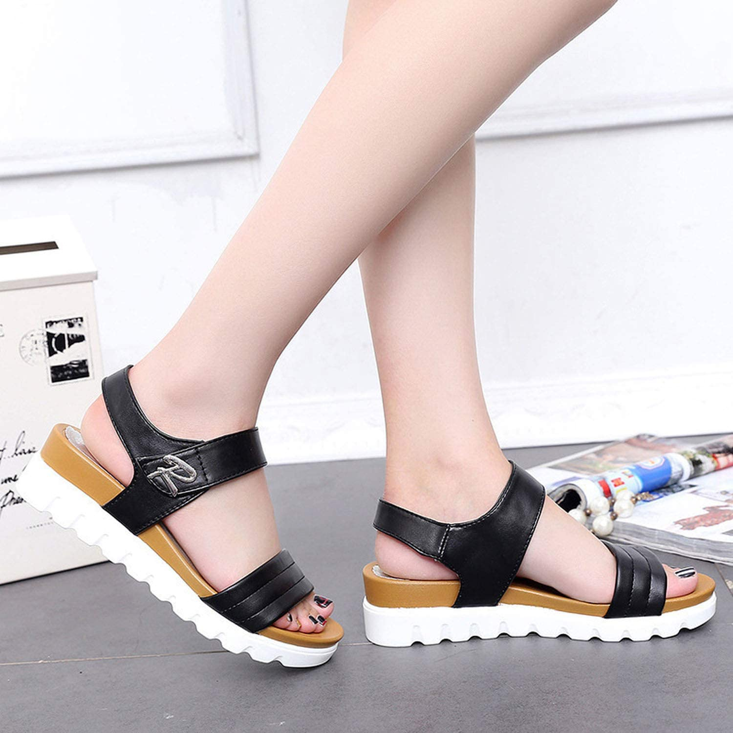 Female Summer Casual Slip On Ladies Sandals Muffin Leisure Casual Tide Women Sandals,Black,8.5