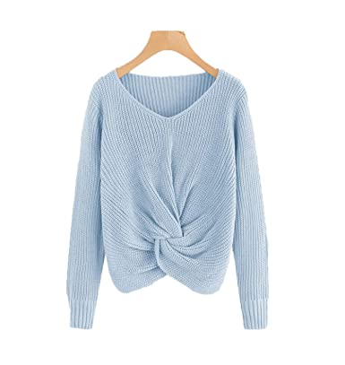 Simple-Fashion Autunno e Inverno Donna Maglieria Basic Casual Sweater Jumper  Cime Bluse Moda V Collo Maglie a Manica Lunga Pullover Maglione Tops  ... c8d1db71835