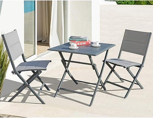 Soleil Jardin Foldable Bistro Set 3-Piece Patio Dining Furniture Set