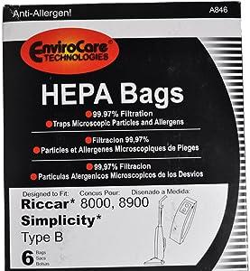Riccar 8000, 8900 Simplicity Type B Vacuum Cleaner Bags