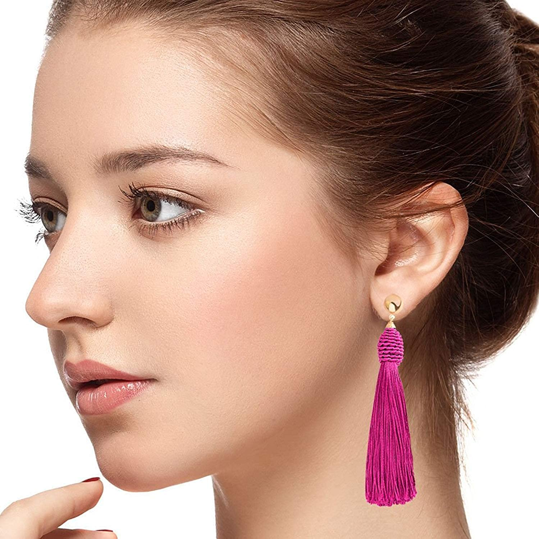 Long Tassel Beads Earrings Pierced Drop Fringe Thread Dangle Light Weight Girls