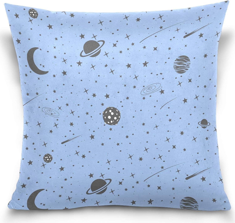 AEMAPE Star Planet Moon Space Cosmic Funda de Almohada Funda de Almohada Cuadrada Funda de cojín para la decoración del Coche en casa 40X40 Cm