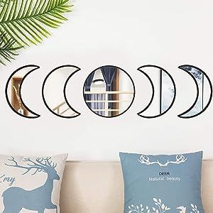 Moon Phase Mirror Set Scandinavian Natural Decor Acrylic Wall Decorative Mirror Interior Design Wooden Moon Phase Mirror Bohemian Moon Mirror for Home Living Room Bedroom Decor - Self-Adhesive (Black)