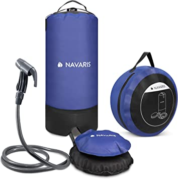 Navaris Ducha Solar portátil para Camping - Ducha Plegable de Exterior con Bomba de pie - Agua Caliente al Aire Libre de excursión o Playa - 11 L
