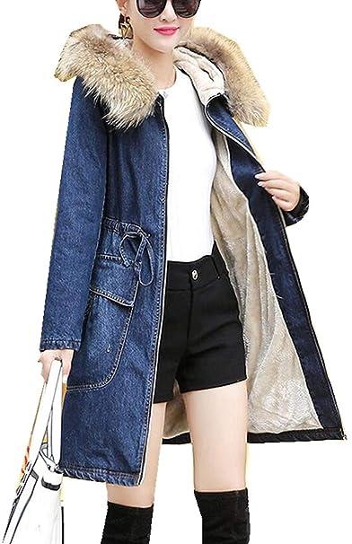 116bf4a382a1cb Giacche Jeans Elegante Donna Con Collo Di Pelliccia Invernali Cappotti Mode  di marca Manica Lunga Con