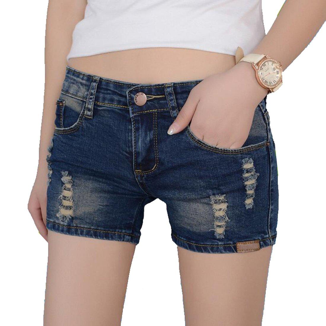 Women's Pocket Denim Shorts Juniors Washed Street Jeans