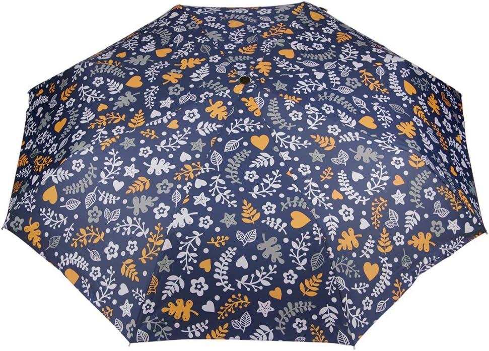Automatic Umbrellas 3 Folding Flowers Windproof Travel Umbrella