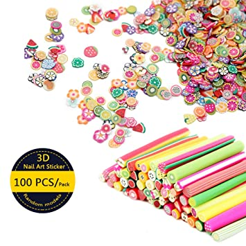Amazon 100 Pcs 3d Nail Art Fimo Canes Clay Fruit Slices Nails