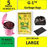G1 Large Black Garbage Bags aka Trash Waste dustbin Bags Of 25 X 30 Inches 5 Packs 70 Pieces