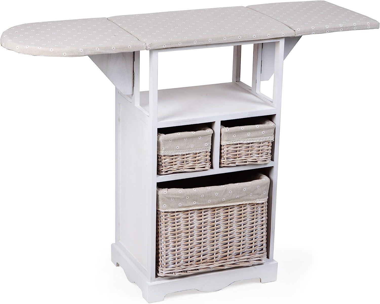 MONTEMAGGI-Mueble de planchado con tabla y 3cestas de mimbre. De 54x 36x 86cm