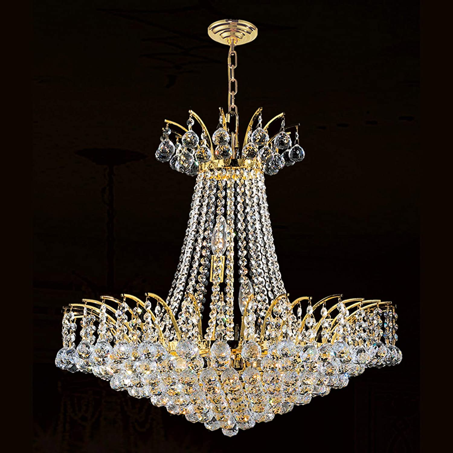 Empire 24 Light Gold Finish and Clear Crystal Chandelier 30 in. D x 40 in. H Round Large
