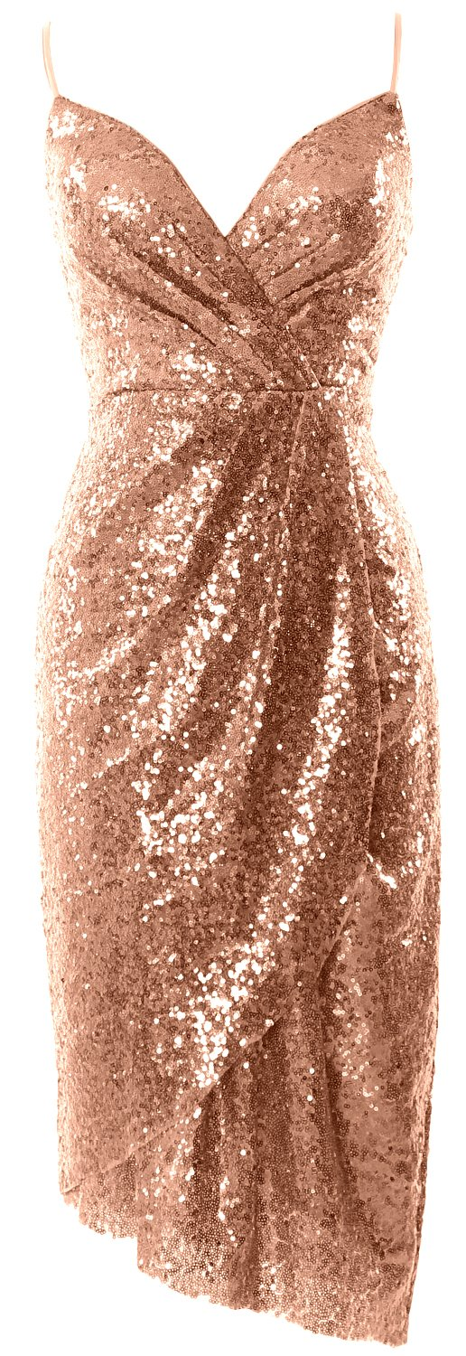 MACloth Tea Length Bridesmaid Dress Sequin V Neck Wedding Party Formal Gown (16w, Rose Gold)