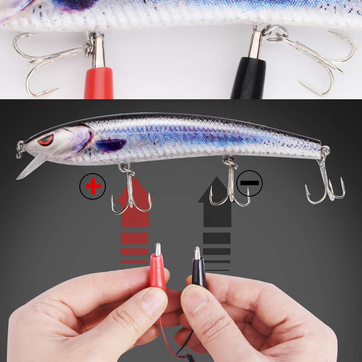 Bass and Trout Fishing Lures,Twitching Lures Rechargeable LED Slowing Sinking Baits with Mustad Hooks Freshwater and Saltwater,Minnow Jerkbait Crankbait