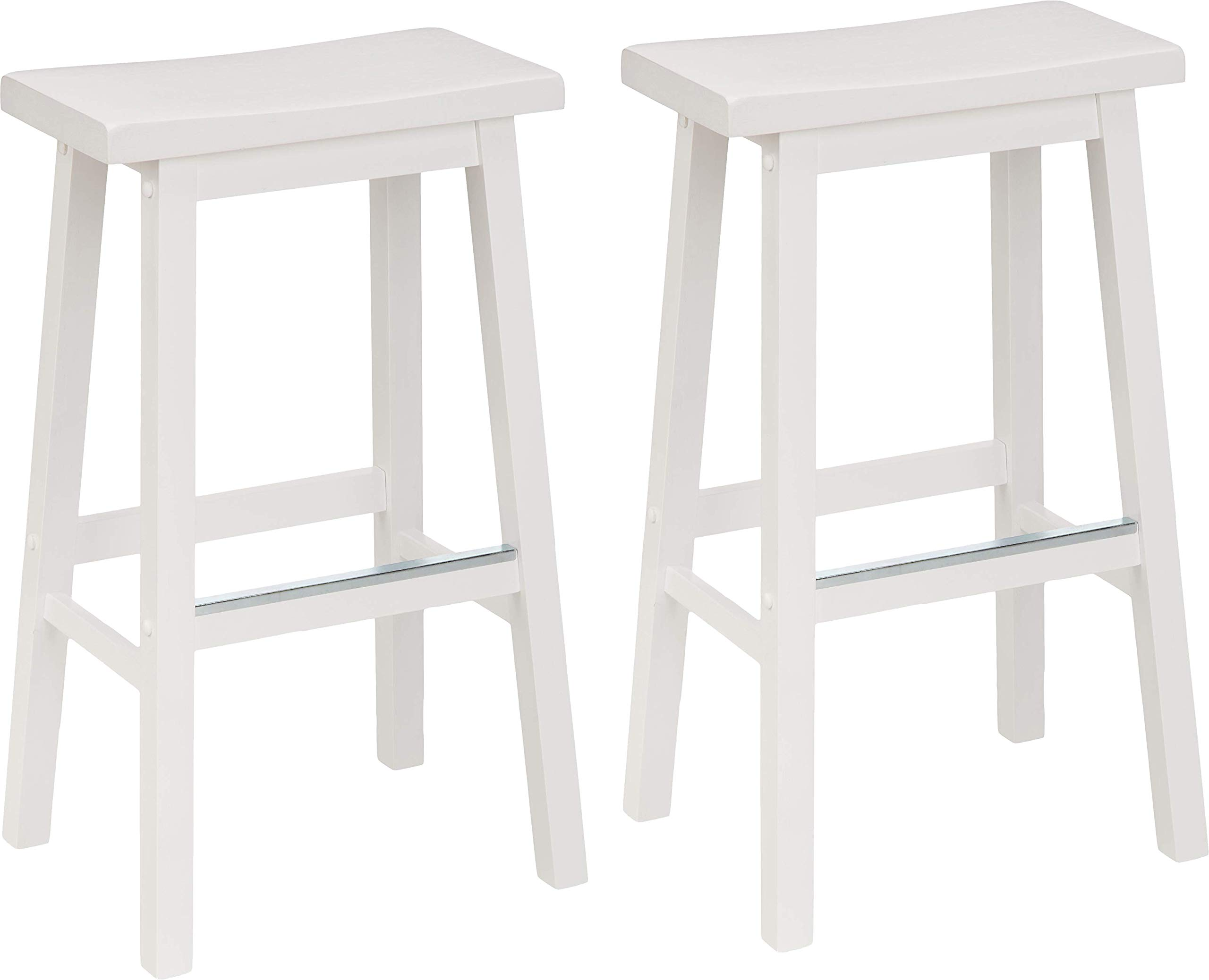 AmazonBasics Classic Solid Wood Saddle-Seat Kitchen Counter Stool with Foot Plate 29 Inch, White, Set of 2 by AmazonBasics