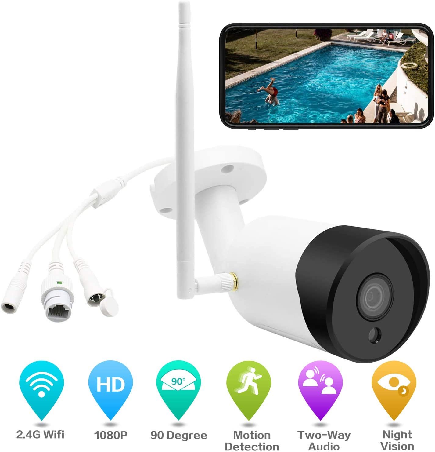 Wireless Outdoor Security Camera with 2-Way Audio, 2.4G WiFi Security Cameras with Night Vision, Motion Detection,1080P IP Home Security Camera System Outside Surveillance Security Camera with Adapter
