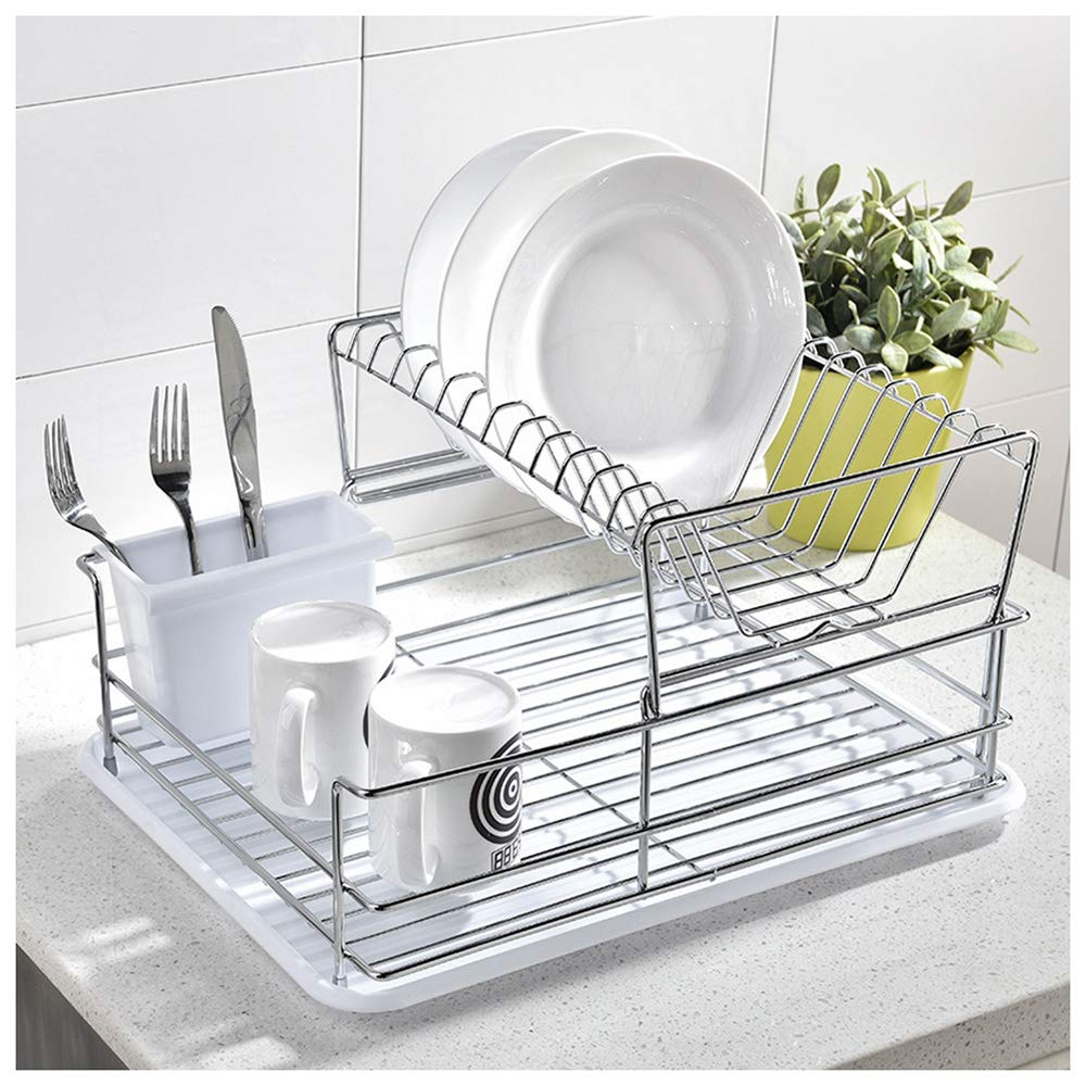 GLANZHAUS Deep Deluxe Steel Metal Wire Kitchen Dish Drying Rack, Dish Rack with Black Removable Cutlery Holder for Kithchen Dishware