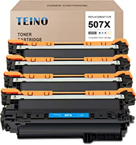TEINO Compatible Toner Cartridge Replacement for HP 507A 507X CE400X CE401A CE402A CE403A use with HP Laserjet Enterprise 500 Color M570dn M551n M575dn M570dw (Black, Cyan, Magenta, Yellow, 4-Pack)