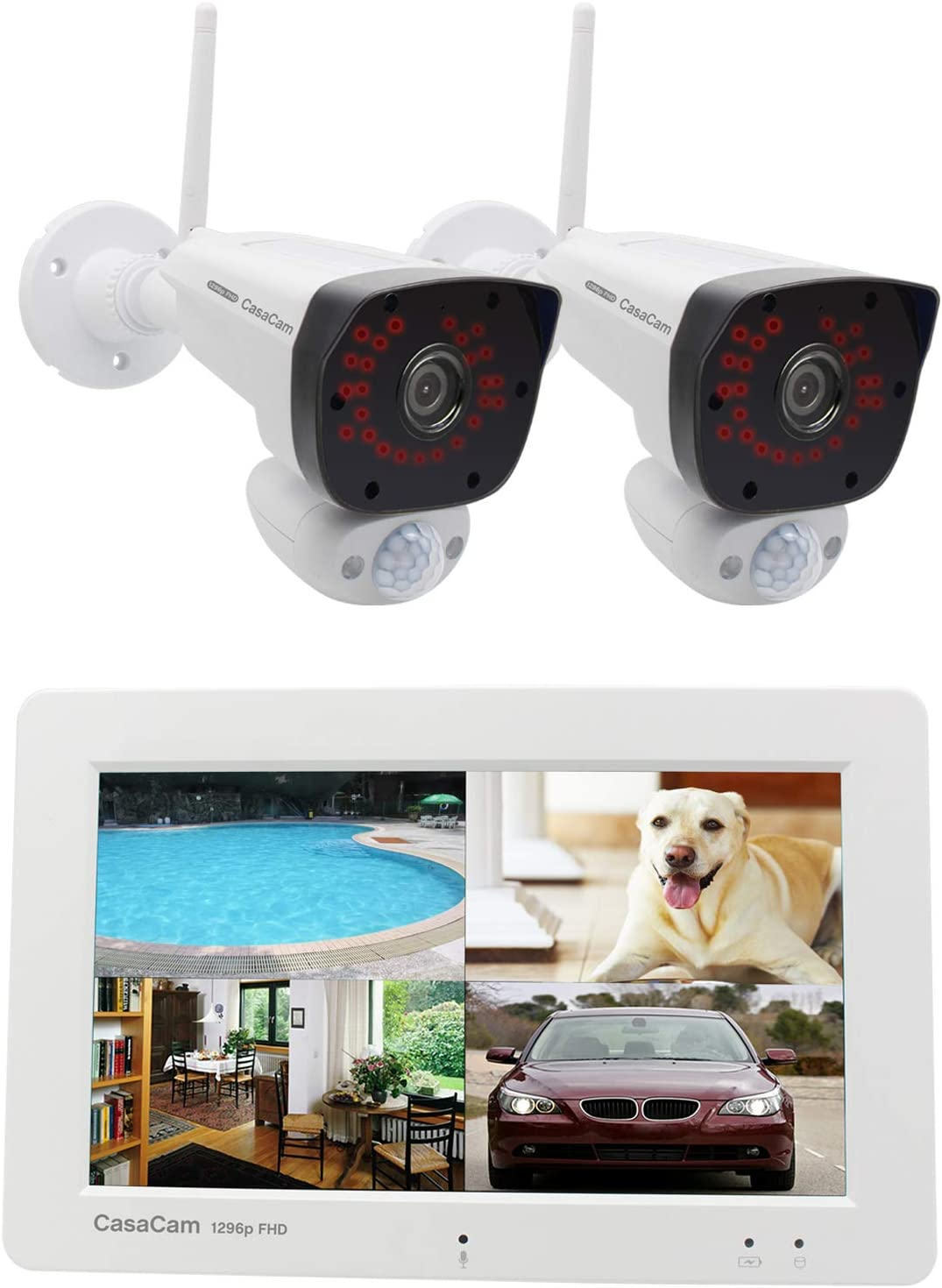 "CasaCam VS2072 Wireless Security Camera System with 7"" Touchscreen Monitor and 2pcs 1296p (3MP) FHD Cameras, AC Powered, 32GB Micro SD Card Installed"