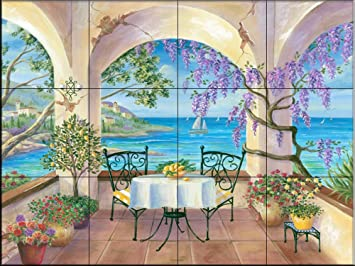 Murale di piastrelle di ceramica balcone da cheryl hamilton