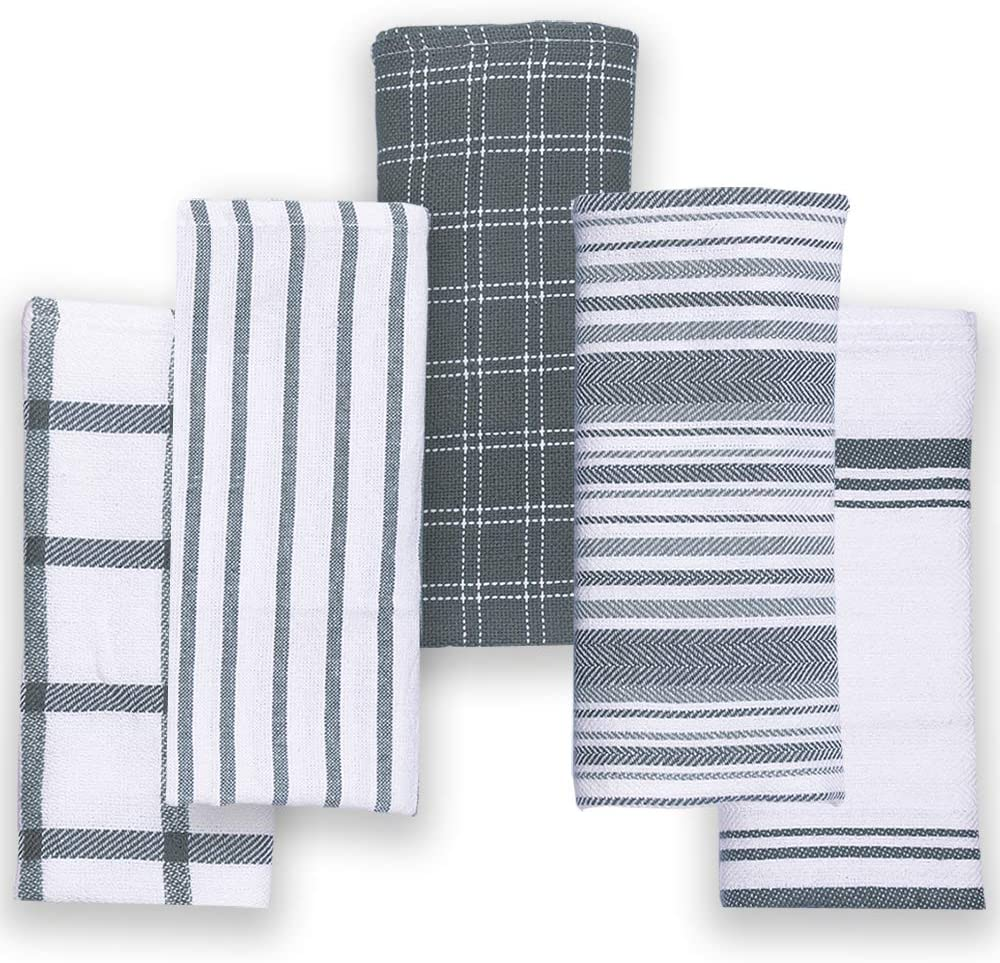 Cotton Talks Kitchen Towels - Pack of 5 Dish Towels Cotton - 18 x 28 inches Holiday Kitchen Towels - Extra Absorbent Dish Towels for Kitchen - Soft Hand Towels Kitchen - 100% Pure Cotton Fabric Grey