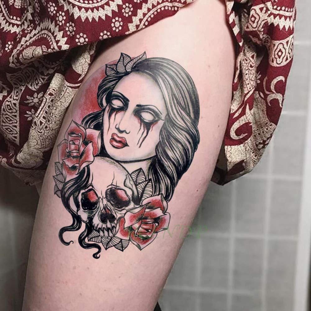 Etiqueta engomada del Tatuaje 3pcs Tatuaje de cráneo de Bruja ...