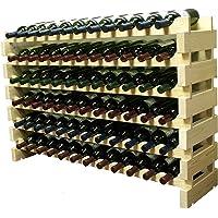Apilable 72 botellas vino Modular Storage Racks, 119,38 cm de ancho, madera de pino macizo, WN84