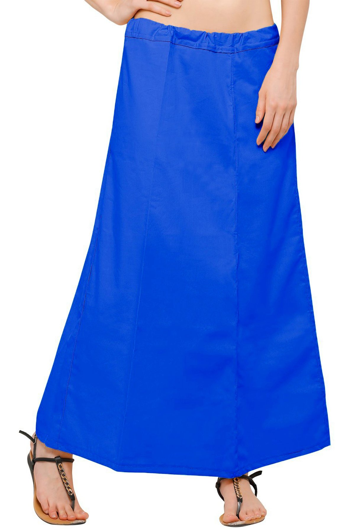Chandrakala Women's Readymade Cotton Floor Length Free Size Petticoat Underskirt Slips for Indian Sarees(P104BLU4)