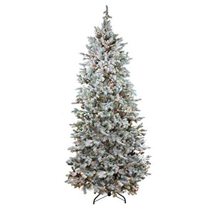 northlight pre lit flocked slim colorado spruce artificial christmas tree with clear lights 75 - Pre Lit Slim Christmas Tree