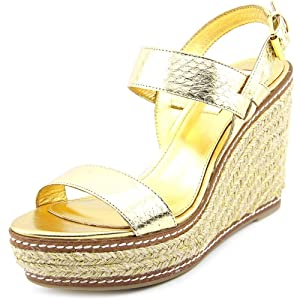 Lauren Ralph Lauren Serana Women US 8 Gold Wedge Sandal