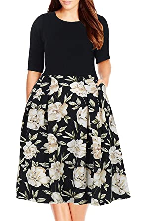 ed0038edb1e Nemidor Women s Floral Print Vintage Style Plus Size Swing Casual Party  Dress at Amazon Women s Clothing store
