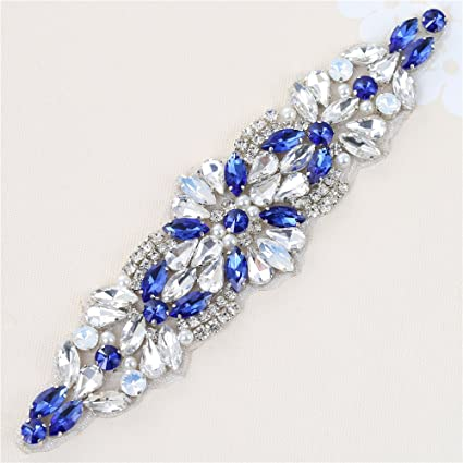 Blue Rhinestone Diamante Belt Applique Sew Iron on Crystal Bridal Wedding  Dress Sash Jeweled Patch for ba8a3263b7b3