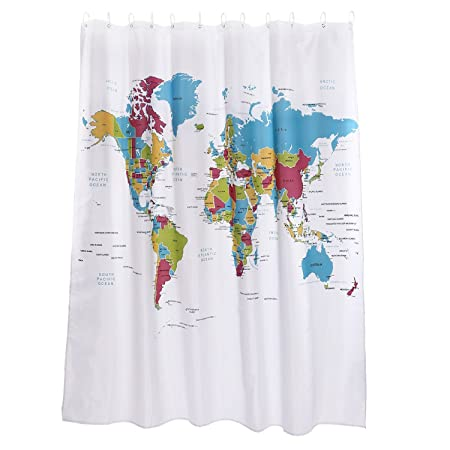 Discoball World Map Sketch Waterproof Colorful Shower Curtain 71