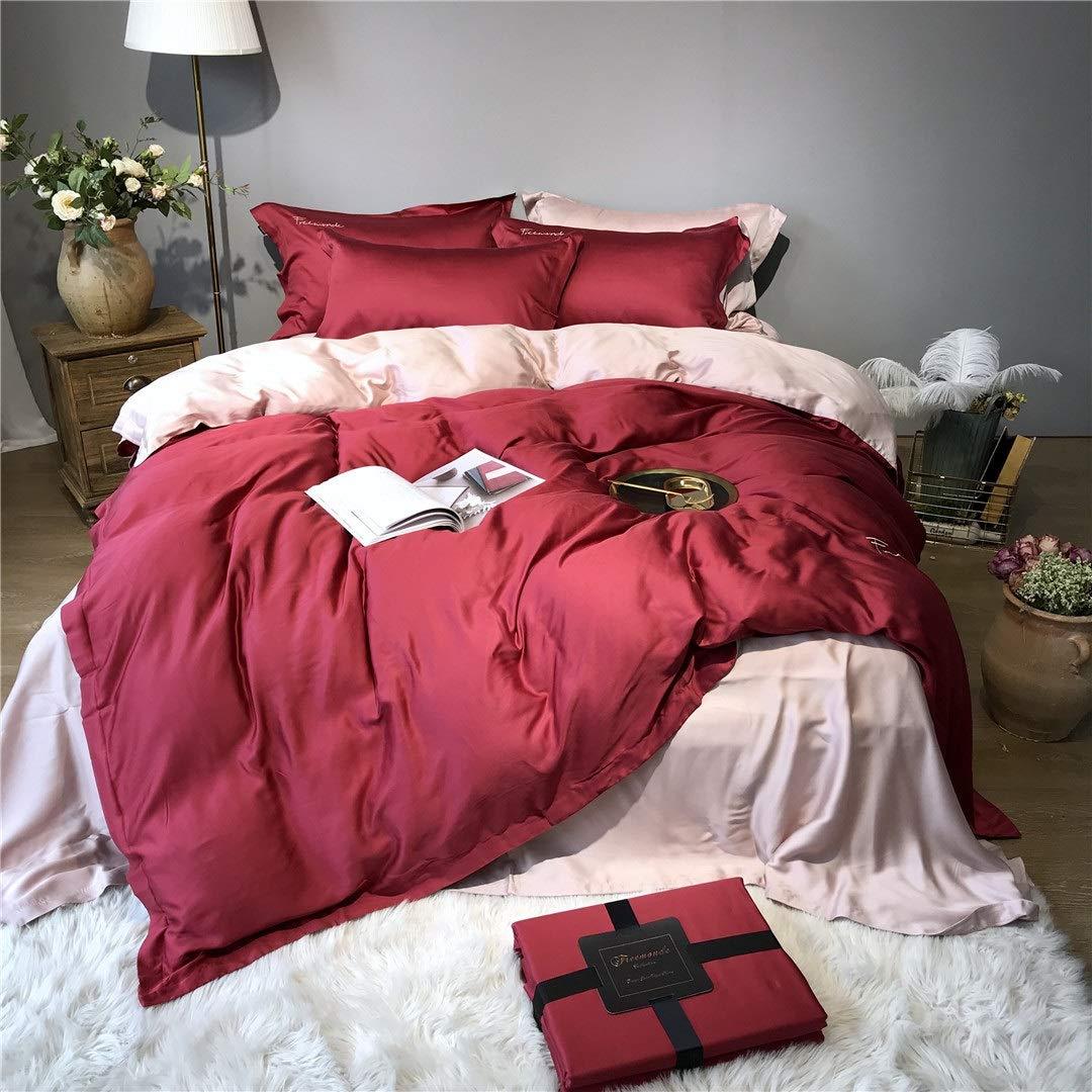 CSYP 無地ライト贅沢なテンセル4ピーススキンケアシルキー寝具刺繍無地 (Color : Red) B07Q578MP3