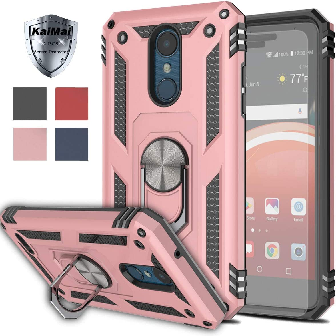 LG Aristo 3/LG Tribute Empire/Rebel 4 LTE/Aristo 2 Plus/Phoenix 4/Tribute Dynasty/Zone 4 Case with HD Screen Protector(2Pack)KaiMai 360 Degree Rotating Ring & Bracket Phone Case For Aristo 2-Rose Gold