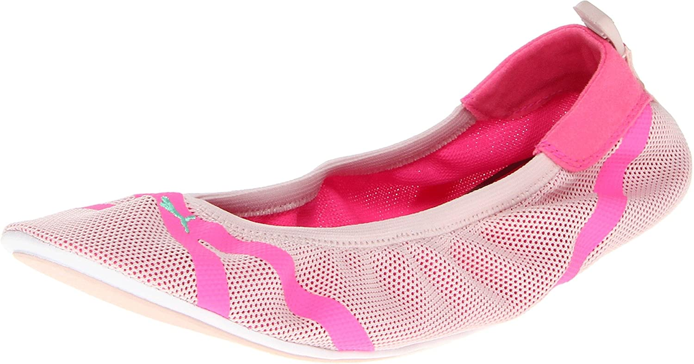 PUMA Women's Axel Ballet Flat B00A006GDU 7 B(M) US|Fluorescent Pink/Mint Leaf/Peach