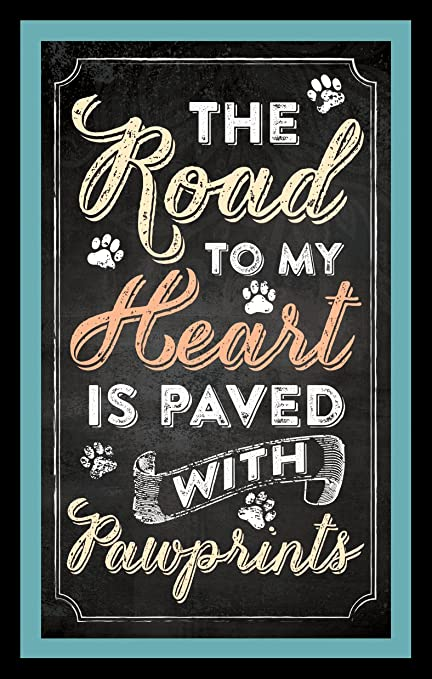 Road to My Heart is Paved with Pawprints 2.5 x 4 Inch Chalkboard Design Inspirational Magnet