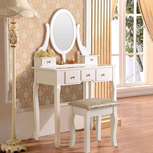 Mefeir Princess Dressing Table Stool with Mirror, Gloss Bedroom Vanity Wooden Set, Girl Small Makeup Seat Saving Room Compact 5 Drawers Set, White