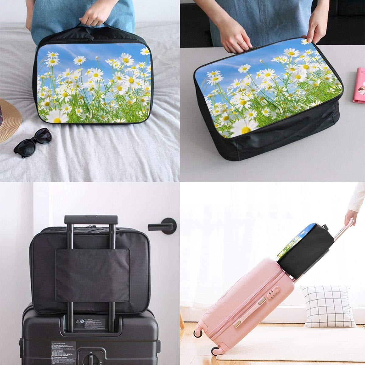 Travel Bag Daisy Flower Waterproof Large Capacity Portable Luggage Bag