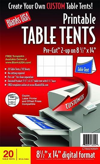 amazon com blanks usa pre cut printable table tents ct602x9wh