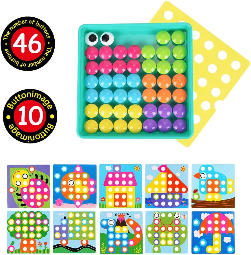 4 Years Old Girls Boys Stem Toys for 2 Peg Puzzle Educational Toy NextX Button Art Toddler Game Toddler Activities Learning Button Blocks Color Pink Matching Mosaic Pegboard 3 Easy to Storage