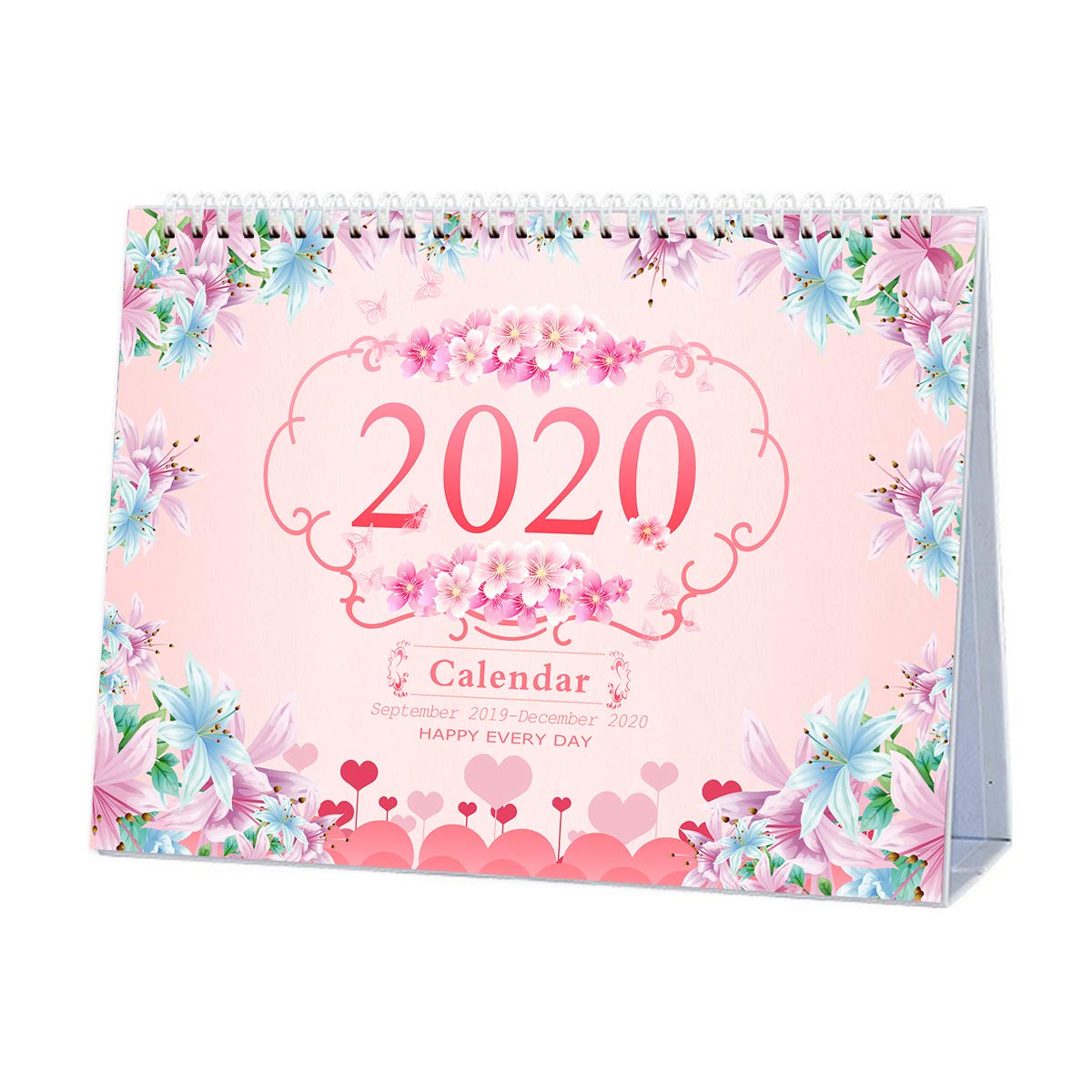 Rose 9.25x6.69 inches Runs from September 2019 Through December 2020 Desk Calendar 2019-2020: Monthly Desk Calendar